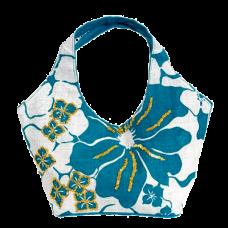 Olive N Figs Turquoise Blue Hawaiin Floral Sequined Jute Handbag-Tote