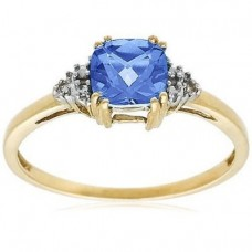 10k Choice of White or Yellow Gold, December Birthstone, Blue-Topaz and Diamond Ring