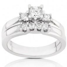 Three-Stone Diamond Wedding Rings Set in 14kt Gold