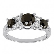 10k White Gold Black and White Diamond Ring