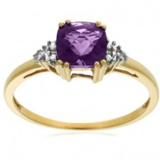 10k Choice of White or Yellow Gold, February Birthstone, Amethyst and Diamond Ring