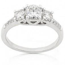 Three Stone Round Brilliant Diamond Ring