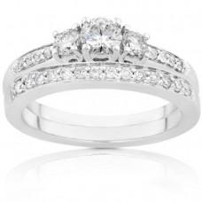 Three Stone Round Diamond Wedding Ring