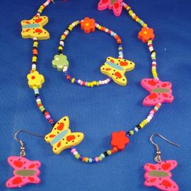 Girls Set of Necklace, Bracelet & Earrings, Bright Colorful Butterflies