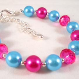 Little Girls Bracelet Pink and Blue