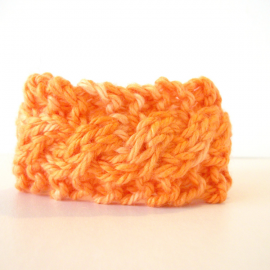 Orange Knit Cable Bracelet