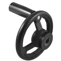 Black 12mm x 100mm 3 Spoke Revolving Handle Hand Wheel