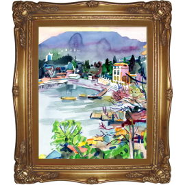Watercolor painting of a bay is in the district of Gurzuf