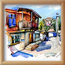 Watercolor painting of old street