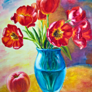 Still life with tulips and peach