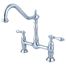 Elements of Design Heritage Deck Mount Two Handle Centerset Bridge Kitchen Faucet with Metal Lever Handles