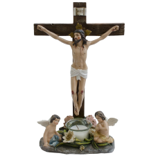 Angels at Jesus on Crucifix with Candle Religious Catholic Figurine