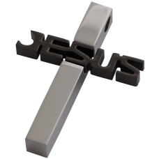 MEN Set- Black and Silver JESUS Cross Stainless Steel Pendant