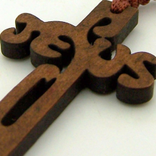 Wood 8mm Square Prayer Bead 18 1-2- Cord Rosary with 2- Jesus Cross