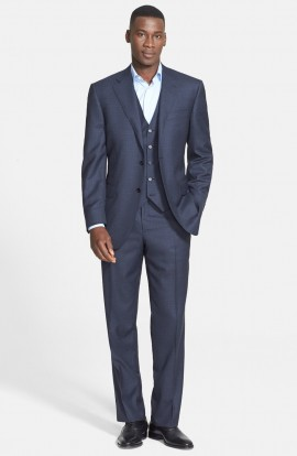Classic Fit Three-Piece Check Suit_