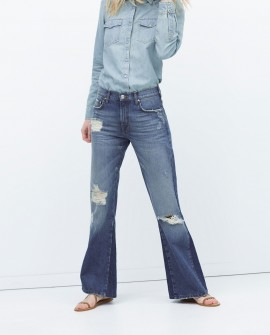 Distressed flared 70s jeans