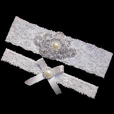 Rhinestone Pearl Vintage White Ivory Lace Wedding Garter Set Bridal Prom Gift