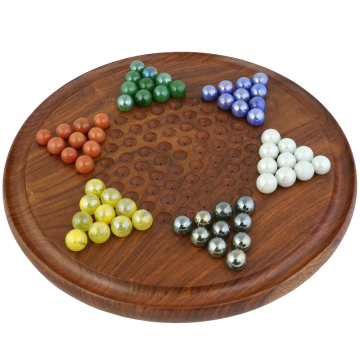 Game Chinese Checkers with Marbles Handcrafted Toys