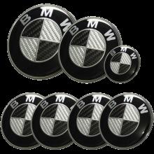 Afauto 7pcs BMW Black-Silver Carbon Fiber Style Emblem Logo Badge Set 73-82mm