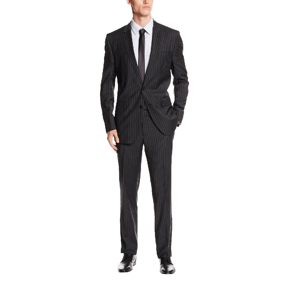 Ike Behar Men's Two Button Side Vent Wool Suit with Flat Front Pant