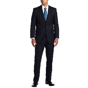 Tommy Hilfiger Men's 2 Button Side Vent Trim Fit Suit with Flat Front Pant