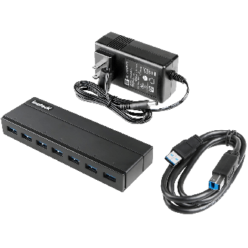 Inateck 7 Port USB 3.0 Hub with 12V 3A Power Adapter and 7 BC 1.2 Charging Ports