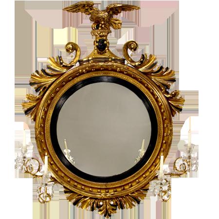 Classical Gilt Wood Girandole Mirror