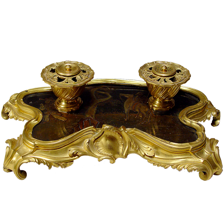 Fine French Louis XVI gilt bronze inkstand
