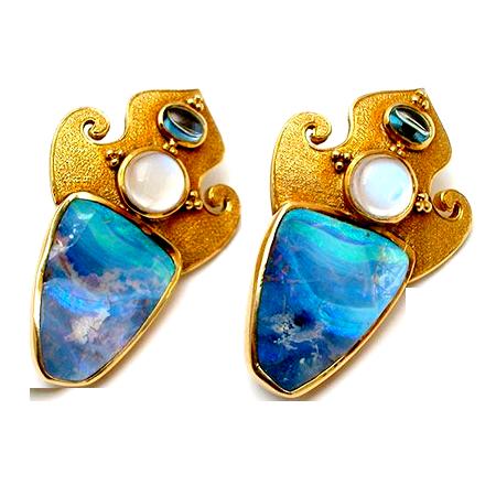 Opal Split Moonstone & Aquamarine Earrings