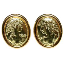 Estate Italian Cameo Motif Earrings