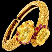 Ilias Lalaounis Ruby Lion Heads Bracelet Solid
