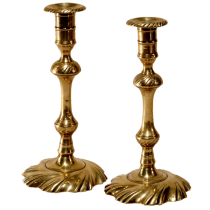 Queen Anne swirl base brass candlestick