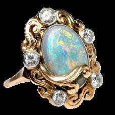 Art Nouveau Antique Opal & Diamond Cocktail Ring