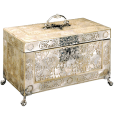 CARVED MOTHER-OF-PEARL TEA CADDY