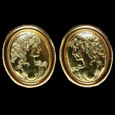 Estate Italian Cameo Motif Earrings
