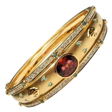 Natural Pink Tourmaline Aquamarine & Diamond Bangle Bracelet