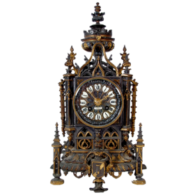 ANTIQUE 19C. LIBERT GOTHIC CATHEDRAL CLOCK