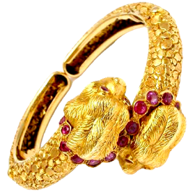 Ilias Lalaounis Ruby Lion Heads Bracelet Solid