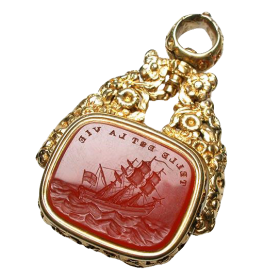 Antique Such is Life Carnelian Agate Fob Seal Pendant