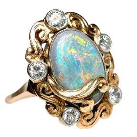 Art Nouveau Antique Opal & Diamond Cocktail Ring