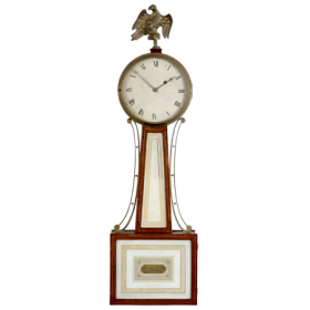 Federal mahogany and eglomise patent time piece