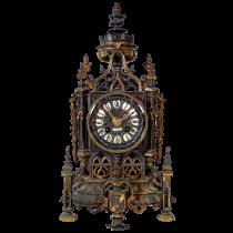ANTIQUE 19C. LIBERT GOTHIC CATHEDRAL CLOCK