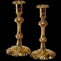 Queen Anne swirl base brass candlestick