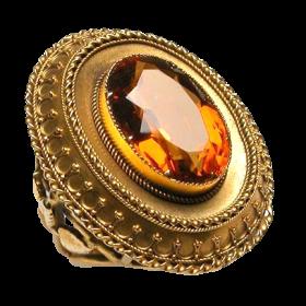 Antique Citrine Cocktail Ring