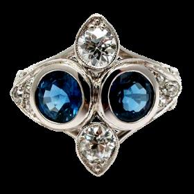 Natural Blue Sapphire & Old European Cut Diamond Ring