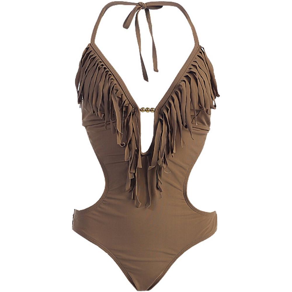 Marina West Women's Fringed Plunge Monokini Swimsuit