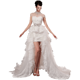 A-plum White Removable Sleeveless Ball Gown In Lace Wedding Dress