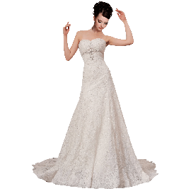 A-plum White Strapless Ball Gown In Lace Beading Dress