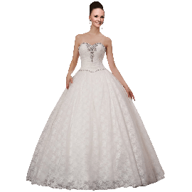 A-plum White Strapless Ball Gown In Lace with Rhinestone Wedding Dress