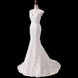 Angel Formal Dress Women's V-neck Lace Wedding Dress for Bride